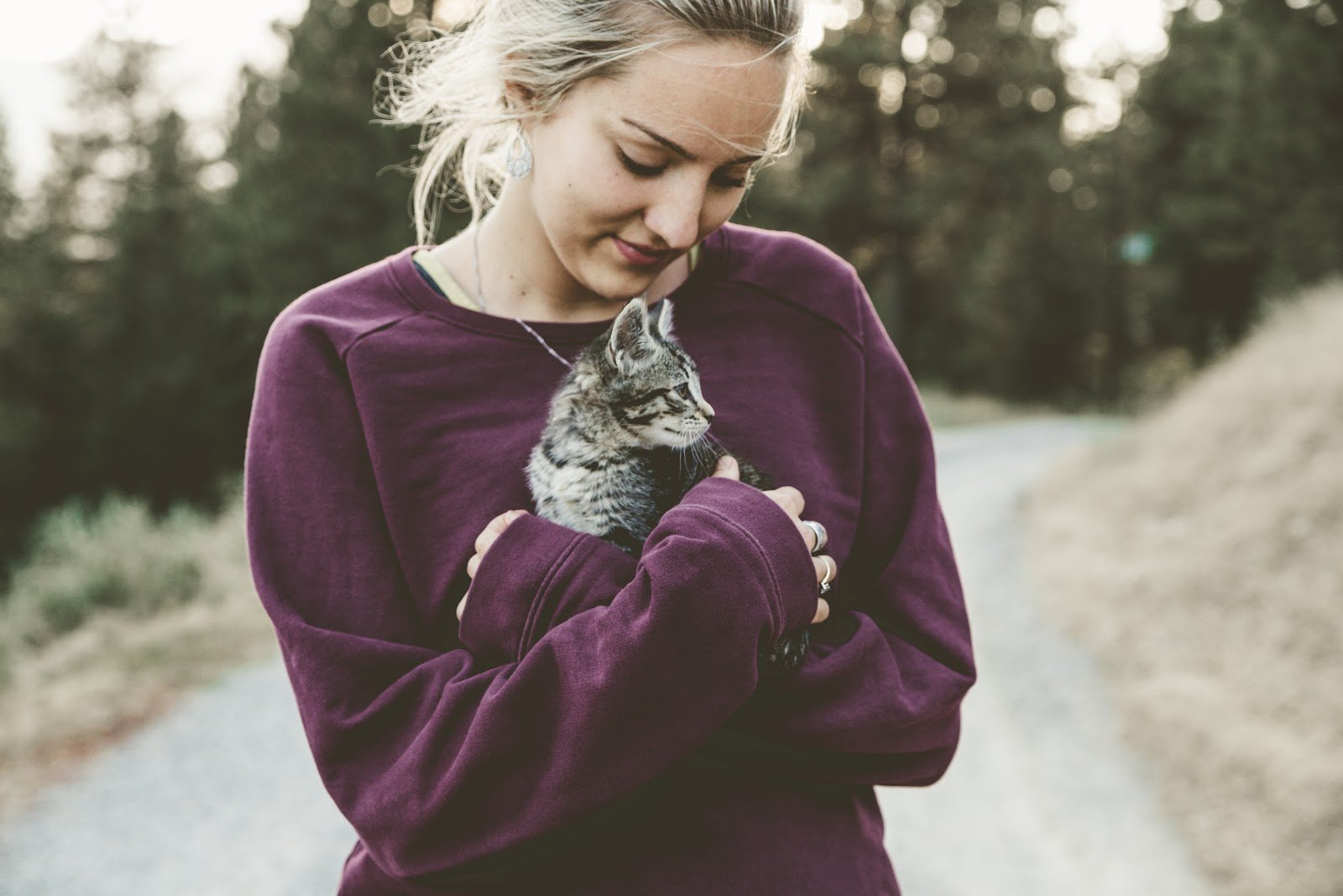 A girl hug a kitten